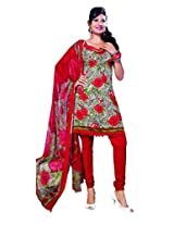 Anvi Creations Red Spun Cotton Dress Meterial (Red_Free Size)
