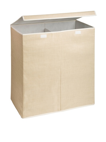 Honey-Can-Do Two-in-One Double Resin Hamper with Cover, Natural, 2-Bin