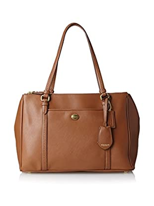 Coach Women's Peyton Leather Double Zipper Carryall, Saddle