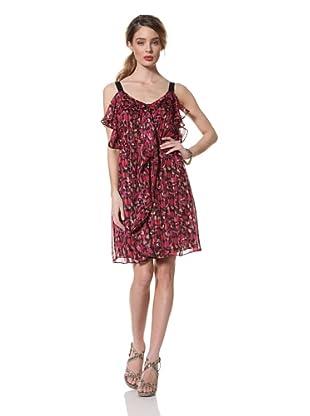 Chetta B Women's Printed Chiffon Dress with Ruffles (Pink/multi)
