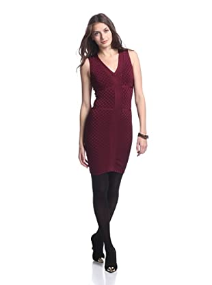 Stretta Women's Karen V-Neck Basket Weave Dress (Brownwood)