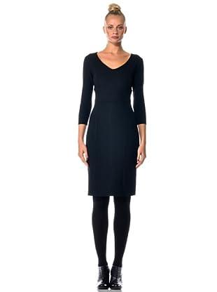 Eccentrica Kleid mit V-Auschnitt (Schwarz)
