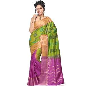 Kanchipuram Handloom Silk Saree, Green and Purple