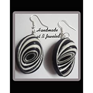 B Jeweled Black And White Quilled Earring