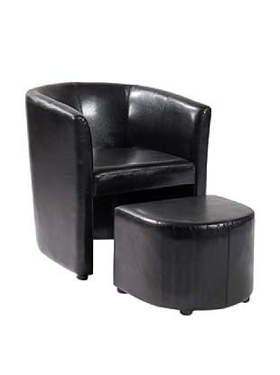 Armen Living Jango Bonded Leather Club Chair & Ottoman, Black