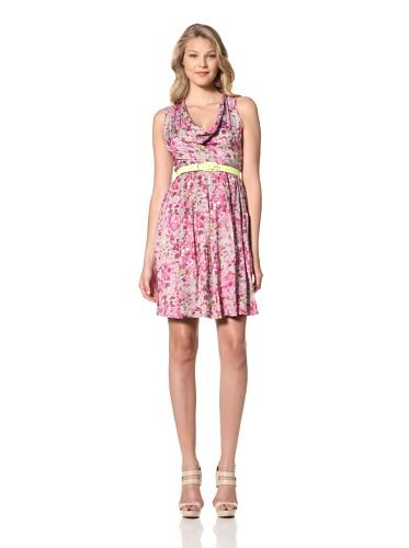 Eva Franco Women's Zooey Floral Printed Sleeveless Dress with Cowl Neck (Spring Garden)
