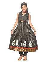 Idha Womens Cotton Anarkali Salwar Suit Set (Js9040L _Black _Large)