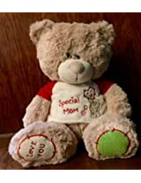 SOFT TOY BEAR W/T-SHIRT(SPECIAL MUM) 29 cms