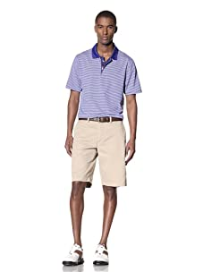 Hawke & Co Men's Cannan Stripe Zip-Front Polo Shirt (Cobalt Blue)