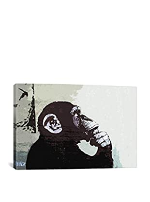 Banksy The Thinker Monkey Gallery Wrapped Canvas Print