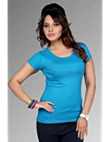 Women's Plain/Solid Cotton T-shirt- Deep Aqua
