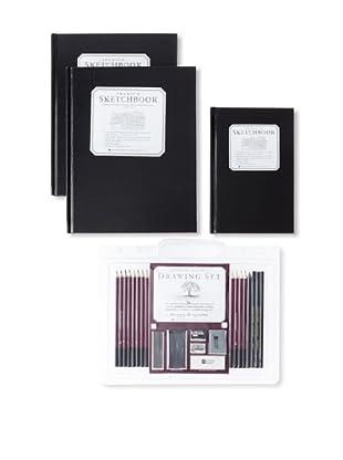 Peter Pauper Press Artists' Set: 2 Large Sketchbooks, Small Sketchbook and Drawing Set
