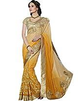 Sapphire Fashions Women's Orange Faux Saree