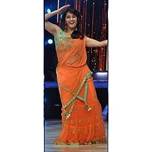 High5Store.com 77528 Madhuri Dixit Saree - Orange