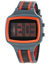 Activa By Invicta Unisex AA400-017 Black Digital Dial Charcoal Grey, Red and Black Polyurethane Watch
