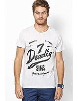 Light Grey Printed Round Neck T-Shirt
