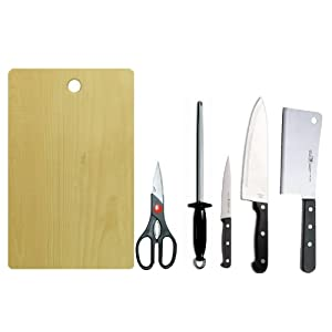 AndAlso Meat Chef Utility Knife set with Scissor Sharpener and Wooden Cutting Board for Kitchen Hotel.