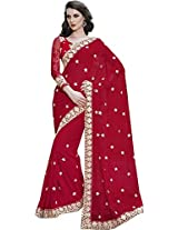 Red Wedding Wear Saree Heavy Embroidery Border Viscose Georgette Sari
