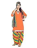 Divisha Fashion Orange Cotton Printed Patiyala Suit with Dupatta