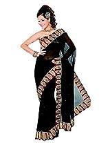 Sehgall Saree Indian Ethnic Professional Faux Georgette Saree Saree - Black-Maroon