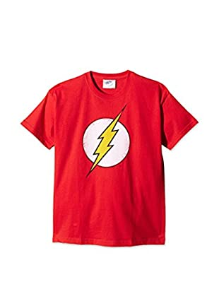DC Comics T-Shirt Manica Corta Distressed Flash Logo