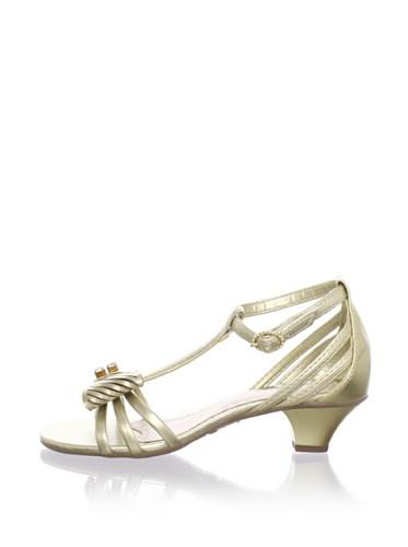 Pampili Kid's Patent Kitten Heel Sandal (Gold)