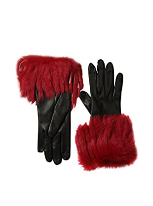Portolano Women's Leather Gloves with Fringed Rabbit Fur Cuff (Black/Red)