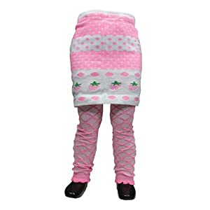 Pink and white legging with attached skirt