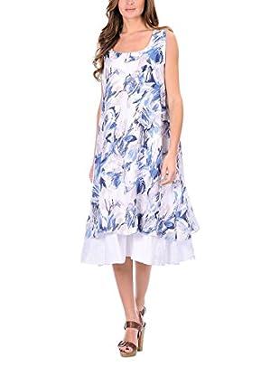 100% Lino Bleu Marine Vestido Bonnie