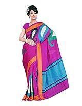 Fabdeal Dark pink Khadi cotton Printed Saree Sari Sarees