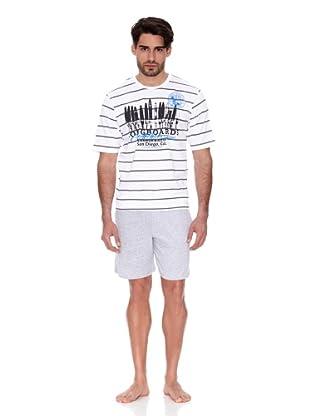 Abanderado Pijama Estampado (Blanco / Gris)