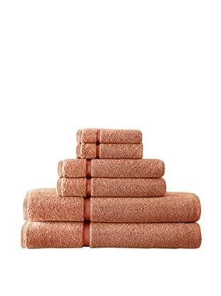 Luxury Home 6-Piece Luxury Egyptian Cotton Towel Set with Sheared Border, Orange