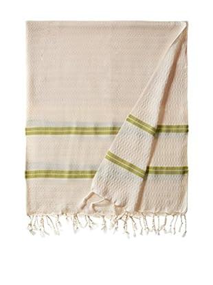 Nomadic Thread Handwoven Towel Pique, Natural/Green