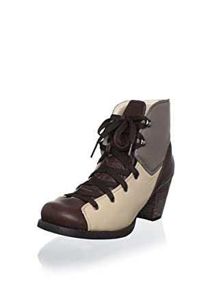 ALL BLACK Women's Blunt Lace Up Boot (Brown)