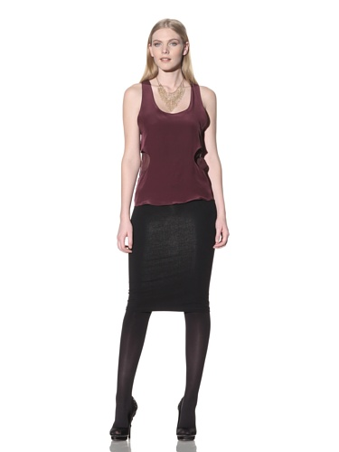Nomia Women's Silk Tank with Side Cutouts (Plum)