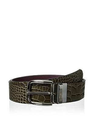 Just Cavalli Men's Reversible Croc Belt (Military Green)