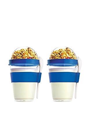 asobu Set of 2 YO2GO Yogurt Containers, Blue