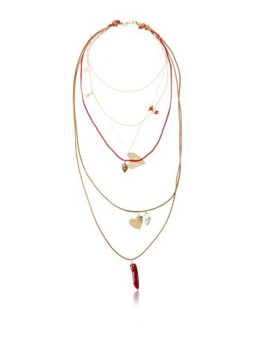Mercedes Salazar Multi-Chain Charm Necklace, Red/Multicolor