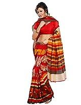 Riti Riwaz Orange Bhagalpuri Silk saree with unstitched blouse LNY6111B