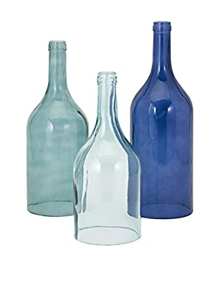Set of 3 Monteith Blue Cloche Bottles