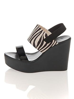 Pollini Keil Sandalette (schwarz zebra)