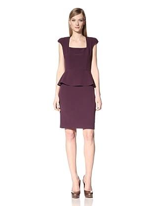 Single Women's Fitted Peplum Dress (eggplant)