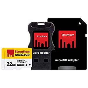 Strontium NITRO 466X 32GB MicroSDHC UHS-1 Memory Card with Adapter and Card Reader