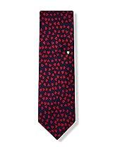 Men's 100% Silk Navy Blue & Red Love Heart Of Gold Necktie Tie Neckwear