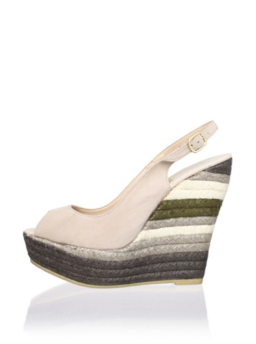 RAS Women's Layered Peep-Toe Wedge (Stone Suede)
