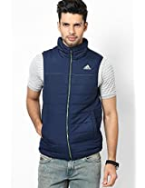 Solid Navy Blue Quilted Jackets Adidas