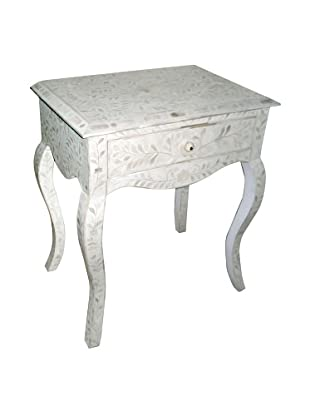 Mili Designs 1 Drawer French Style Bone Inlay Bedside, White/White