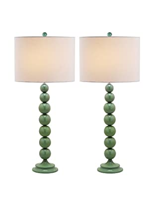 Safavieh Set of 2 Jenna Stacked Ball Lamps, Marine Blue