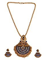 Ganapathy Gems 1 Gram Gold Plated Pendant Set With Blue Stones And Golden Drops With Chain (8448)