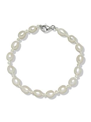 Valero Pearls 474511 - Pulsera de mujer de plata con perla cultivada de agua dulce, 19 cm